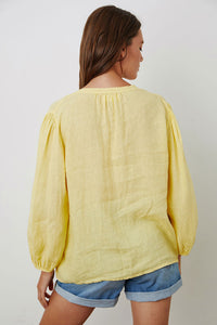 Ilena Linen Peasant Blouse in Citron and Cranapple