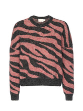 Load image into Gallery viewer, Lizzy Zebra Jacquard Crew Neck Sweater