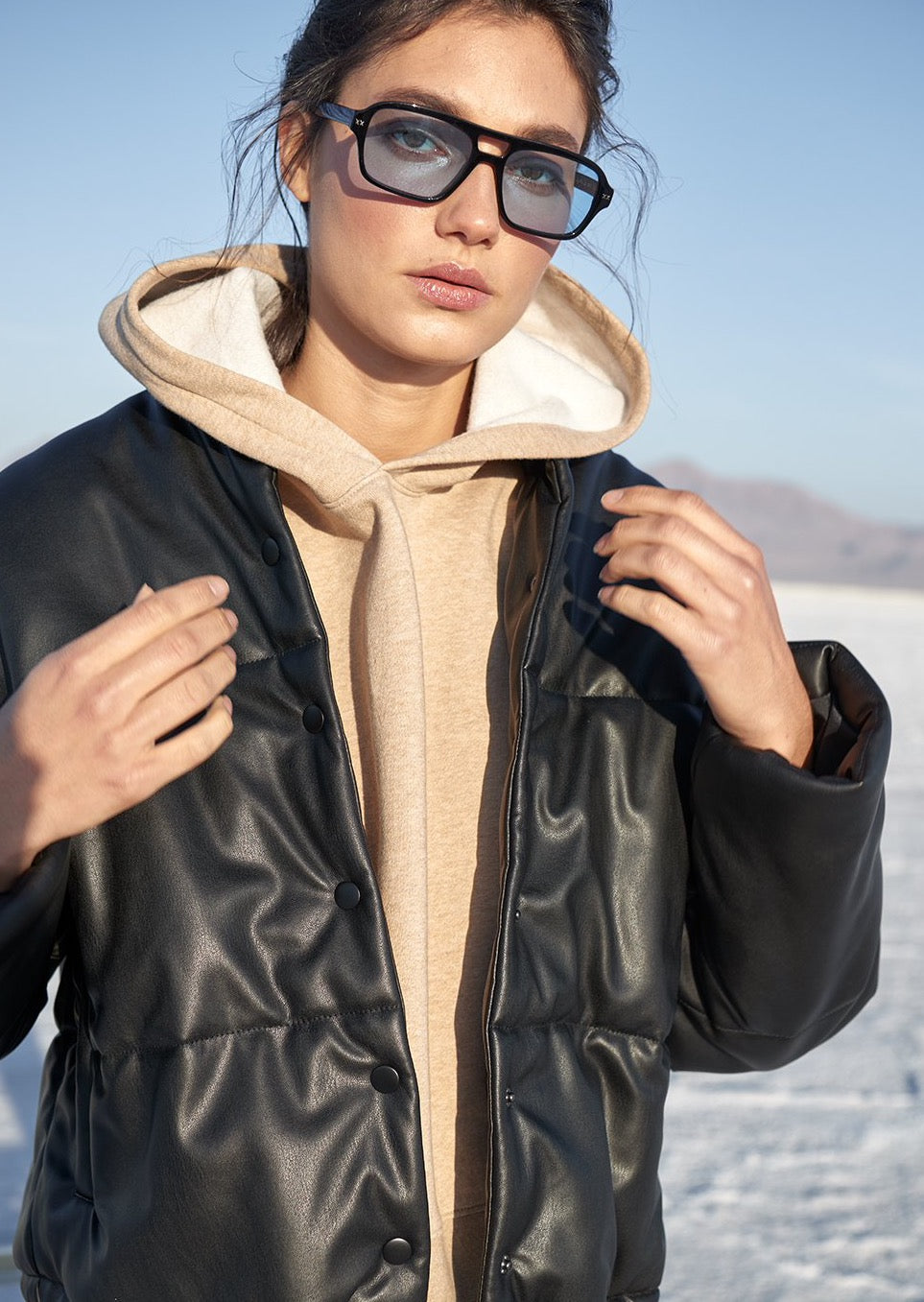 Otter Faux Leather Puffer