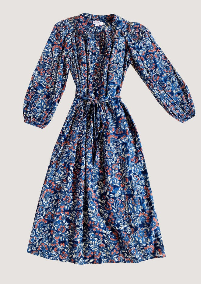 Beau Cotton Peasant Dress in Henna Print