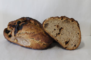 Walnut and plum sourdough loaf