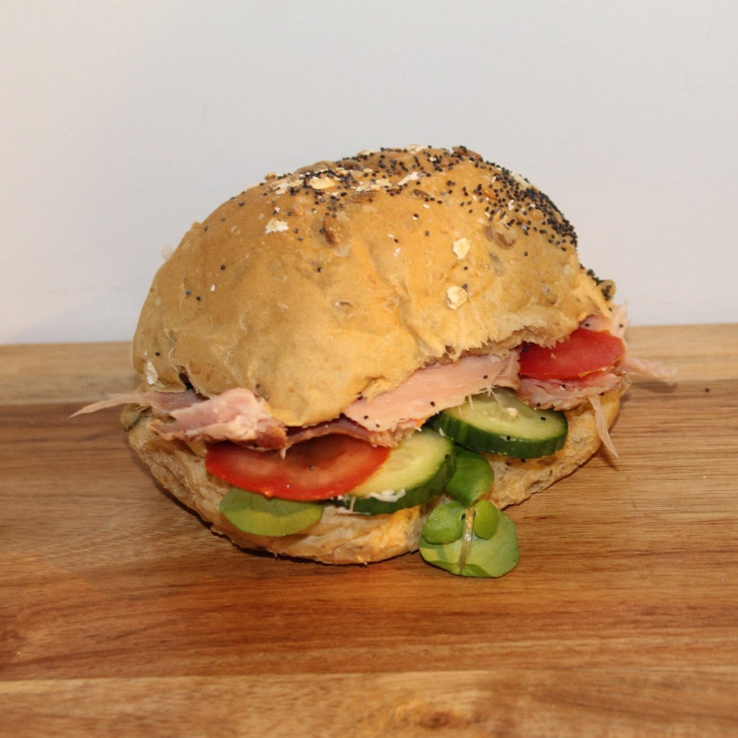Ham salad roll with Dijon mayonnaise