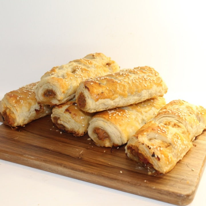 Roasted pepper and chorizo sausage rolls