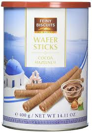 Cocoa and hazelnut wafer sticks