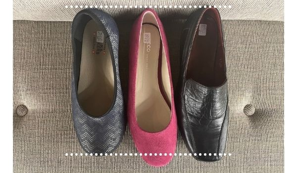 Three different shoes in a size 38 to show they are different lengths and thus fit differently