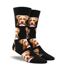Load image into Gallery viewer, Black socks with pitbulls on them