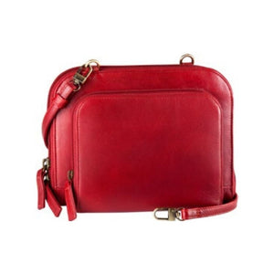 Rounded corner red leather handbag by Derek Alexander has a pop out zipper pocket on the side of the main zipper pocket and an adjustable shoulder strap