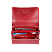 Load image into Gallery viewer, Red leather handbag by Derek Alexander with many interior slots for cards, money and cellphone