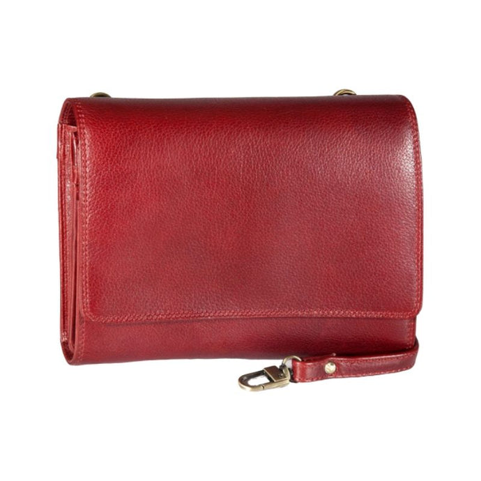 Red hand bag clutch style with a strap by Derek Alexander