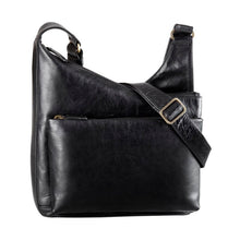 Load image into Gallery viewer, Black leather slouch bag with a front zipper pocket and an adjustable strap by Derek Alexander
