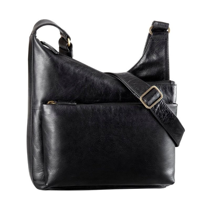 Black leather slouch bag with a front zipper pocket and an adjustable strap by Derek Alexander