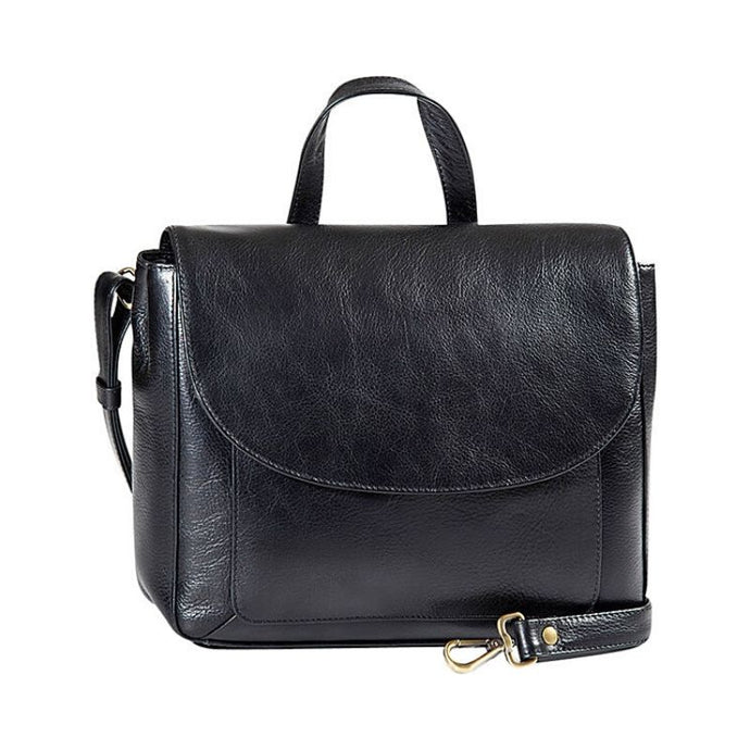 Black leather flap bag with a top handle and an adjustable strap by Derek Alexander