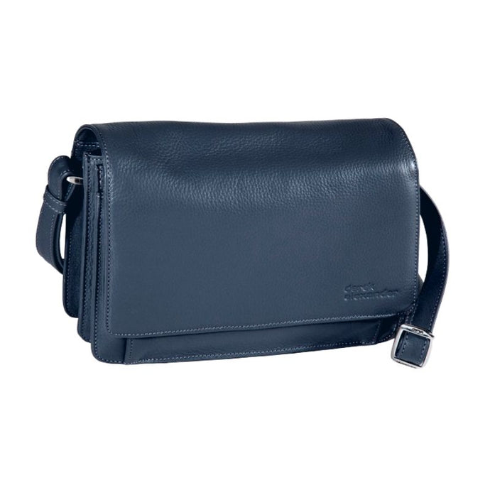 Navy leather clutch style hand bag with front flap pocket and adjustable strap by Derek Alexander