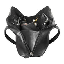 Load image into Gallery viewer, Spacious black leather Derek Alexander bag interior with lots of small pockets for cards or pens as well as large open space.