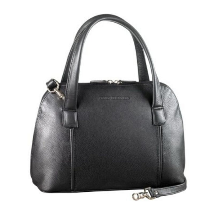 Black leather bag with a zipper closure, two handles and an adjustable strap by Derek Alexander