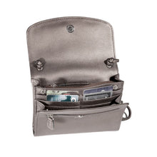 Load image into Gallery viewer, Inside pocket hold many credit cards in the Derek Alexander purse with adjustable straps in pebbled silver cowhide leather