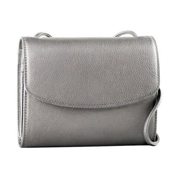 Silver pebbled cowhide leather flap pocket on the Derek Alexander purse with adjustable straps