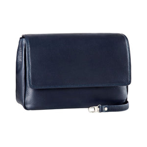 Small size Derek Alexander handbag in a Navy clutch form with adjustable shoulder strap