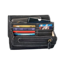 Load image into Gallery viewer, Multiple card pockets inside the small clutch in black leather by Derek Alexander