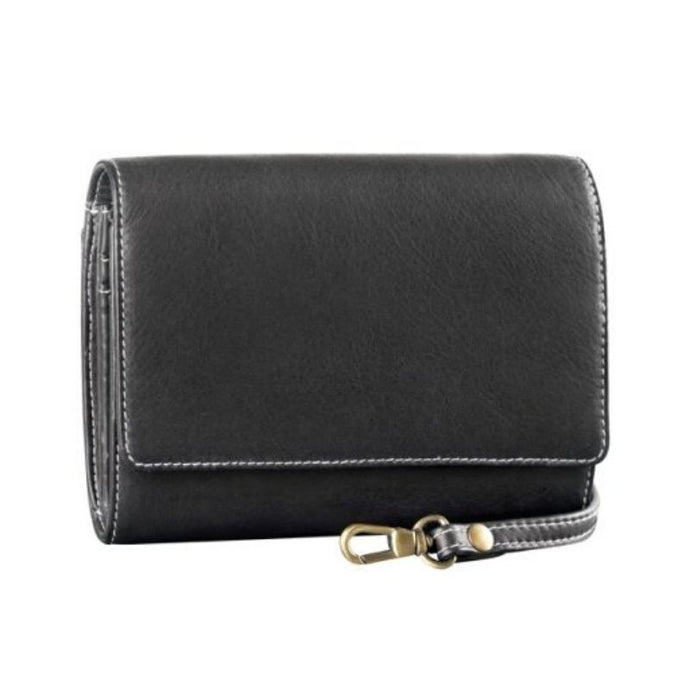 Small rectangle clutch bag with removable strap in black leather by Derek Alexander