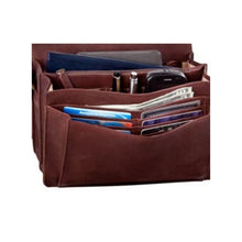 Load image into Gallery viewer, Inside of the brown handbag clutch by Derek Alexander holding many cards, cell phone, pens and money