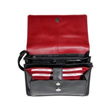 Load image into Gallery viewer, The inside of the black leather handbag is bright red and has pockets for cards, phone and money.