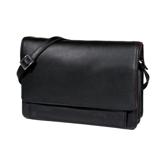 Black leather handbag with a flap closure and an adjustable strap by Derek Alexander