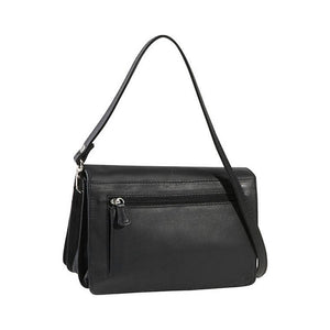 Black leather bag with a zipper pocket on the back with an adjustable strap by Derek Alexander