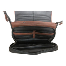 Load image into Gallery viewer, The inside of the black leather handbag has many pockets for cards, cellphone or money with brown contrasting areas for decor