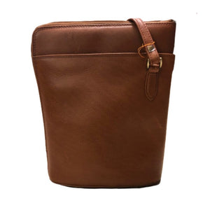 Tan bucket bag by Derek Alexander with an adjustable shoulder strap