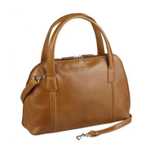 Tan leather bag with a zipper closure, two handles and an adjustable strap by Derek Alexander