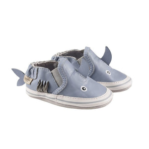 A pair of blue leather 3D shark kids shoe.