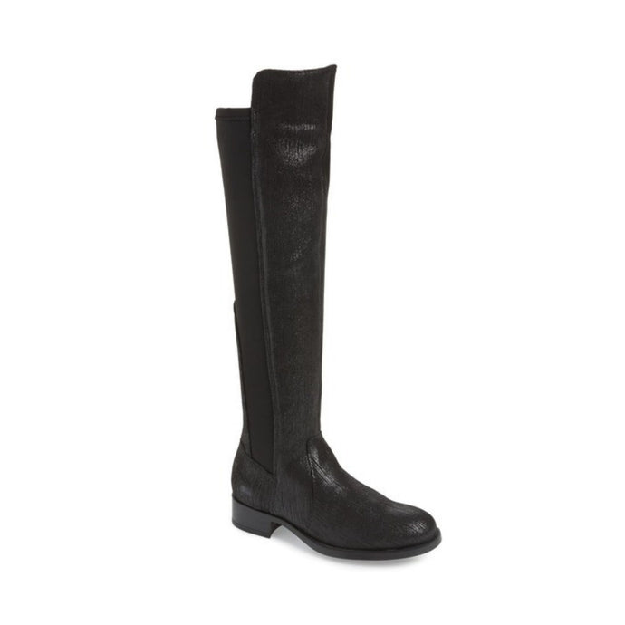 Tall black boots with slight heel and stretch back material and shimmery front
