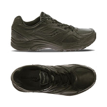 Load image into Gallery viewer, Top and side view of the black Integrity ST2 shoe by Saucony has rugged running shoe look with black laces and a black swoosh image on side with a black footbed