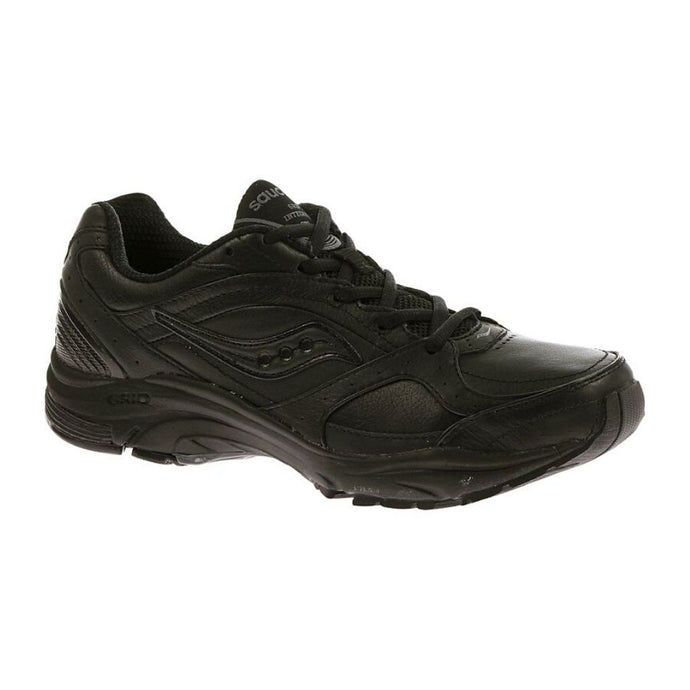 Black Integrity ST2 shoe by Saucony has rugged running shoe look with Black laces and a swoosh image on side