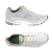 Load image into Gallery viewer, Top and side view of the white Integrity ST2 shoe by Saucony has rugged running shoe look with white laces and a white swoosh image on side with a teal footbed