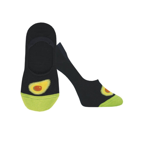 A pair of women's black socks with avocado's on the toes