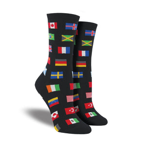 A pair of women's crew socks featuring world flags.