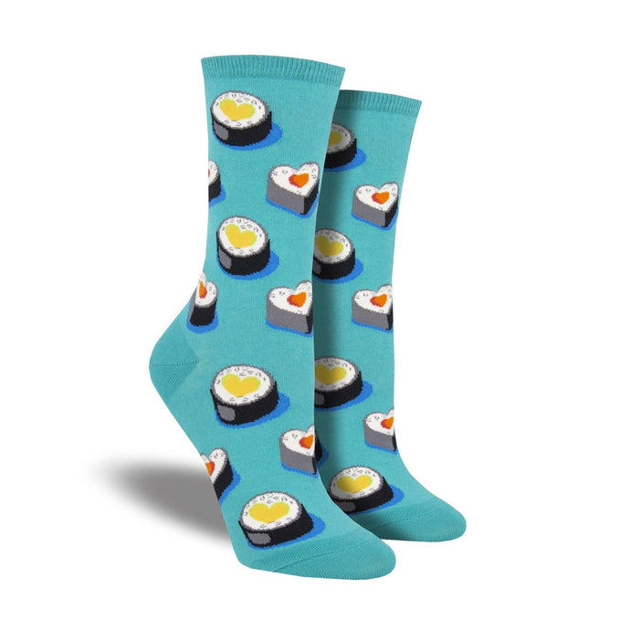 Blue socks with cute heart sushi rolls on them