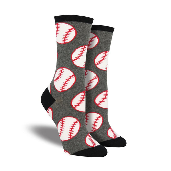 Grey Socks with black accents featuring baseballs