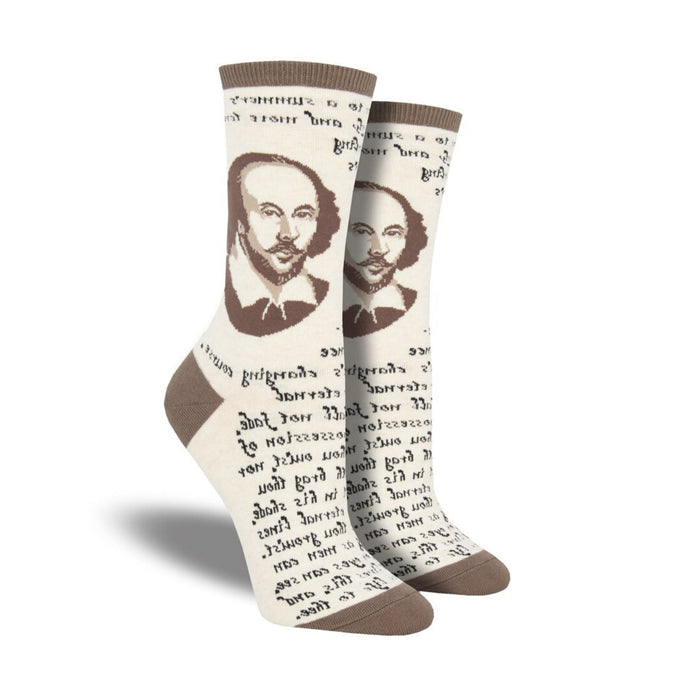 Tan socks with Shakespeare's head and famous quote