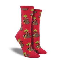 Load image into Gallery viewer, Red socks with bling wearing sloths on them