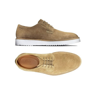 Dark sand suede Ernest walking shoe by Clarks top view with tan footbed and side view work white outsole