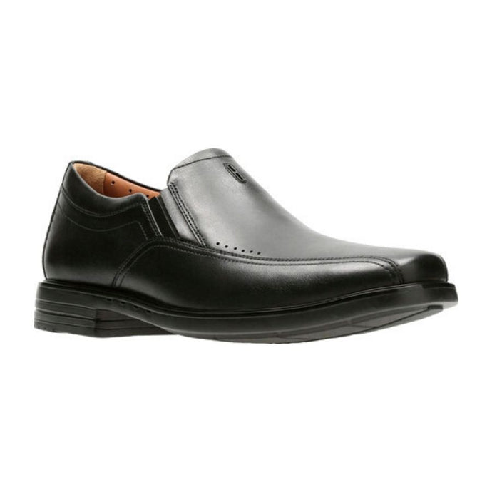 Black leather laceless Sheridan Go dress shoe by Clarks with slight heel and line detailing