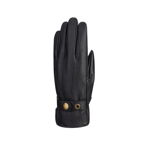 Black leather gloves with detail lines and small round gold buckle at cuff