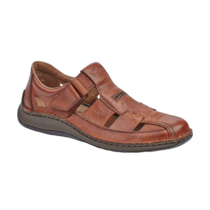 Men's brown leather fisherman sandal made by Rieker.