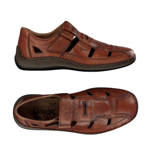 Top and side view of men's brown leather fisherman sandal made by Rieker.