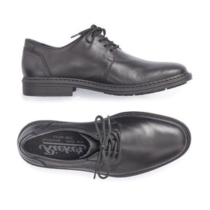 Side and top view by Rieker men's black lace up derby dress shoe.