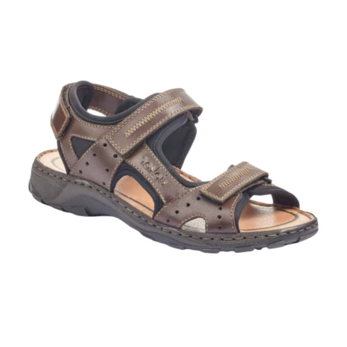 Men's Rieker brown back strap sandal featuring three adjustable velcro straps.
