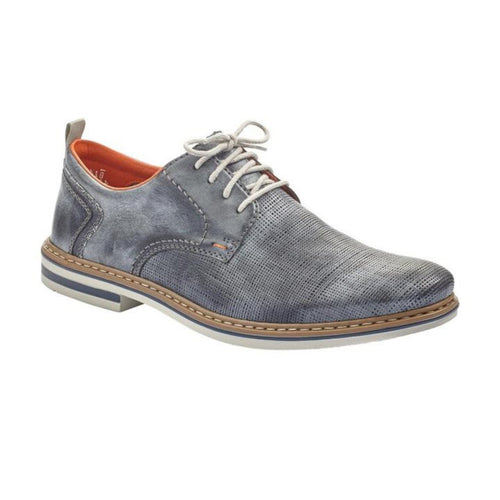 Men's lace up blue derby shoe with perforations. Made by Rieker.